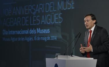 El president d'Aigües de Barcelona, Àngel Simón, en una conferència / AGBAR