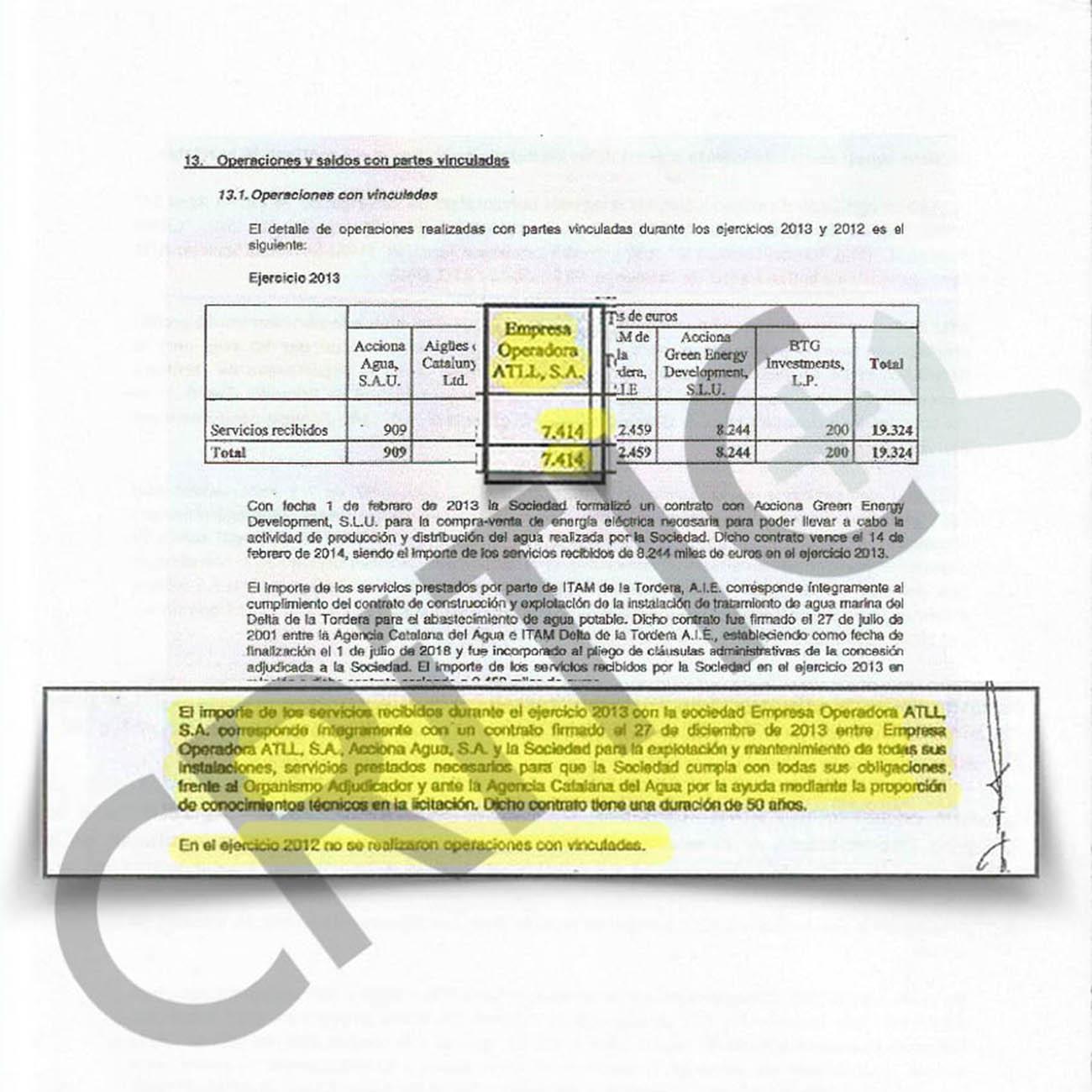 Operacions d'ATLL amb empreses vinculades a Acciona o BTG / CRÍTIC