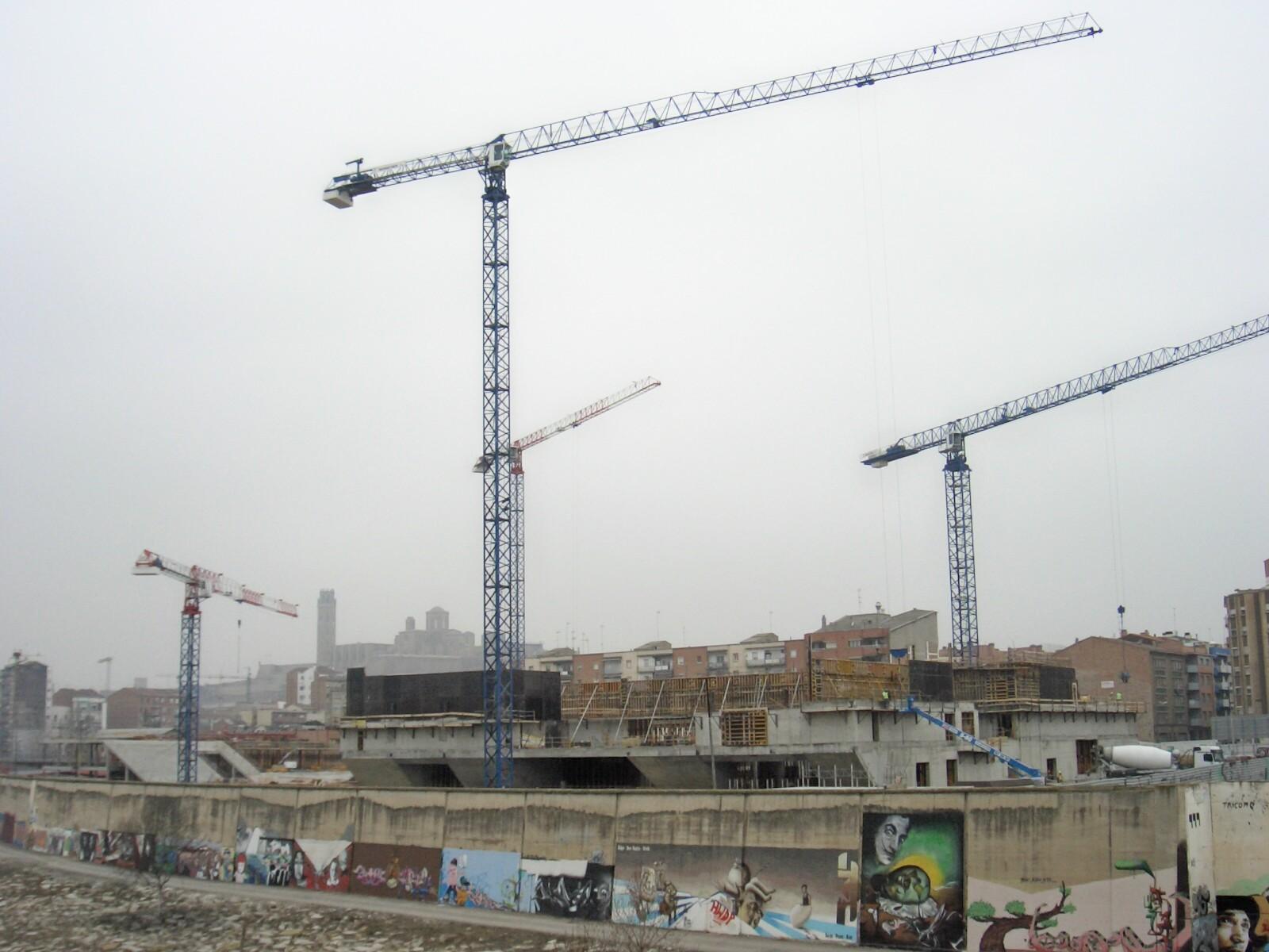 Construcció de la Llotja de Lleida. Foto: Indibil.
