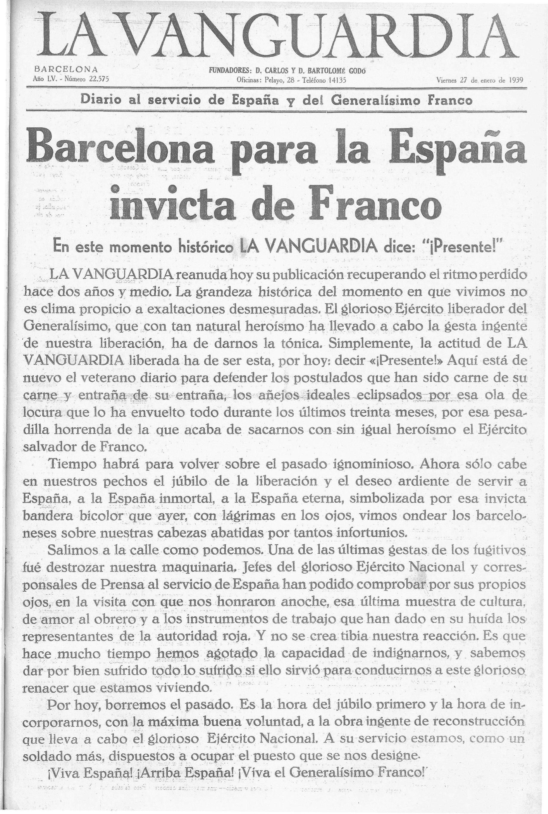 Portada de La Vanguardia del 27 de gener de 1939, després de la caiguda de Barcelona davant les tropes franquistes.