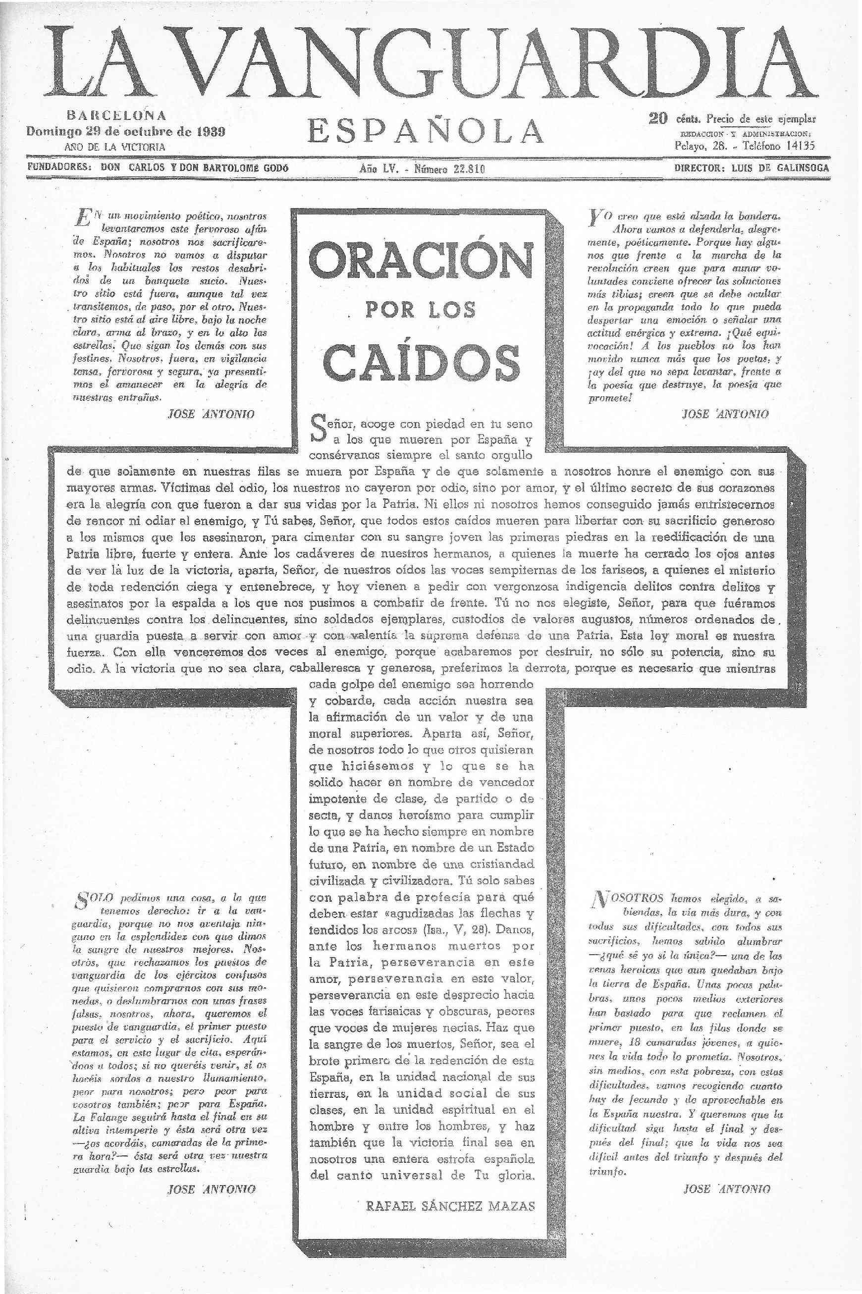 Portada de 'La Vanguardia Española' amb una oració pels caiguts del bàndol feixista.