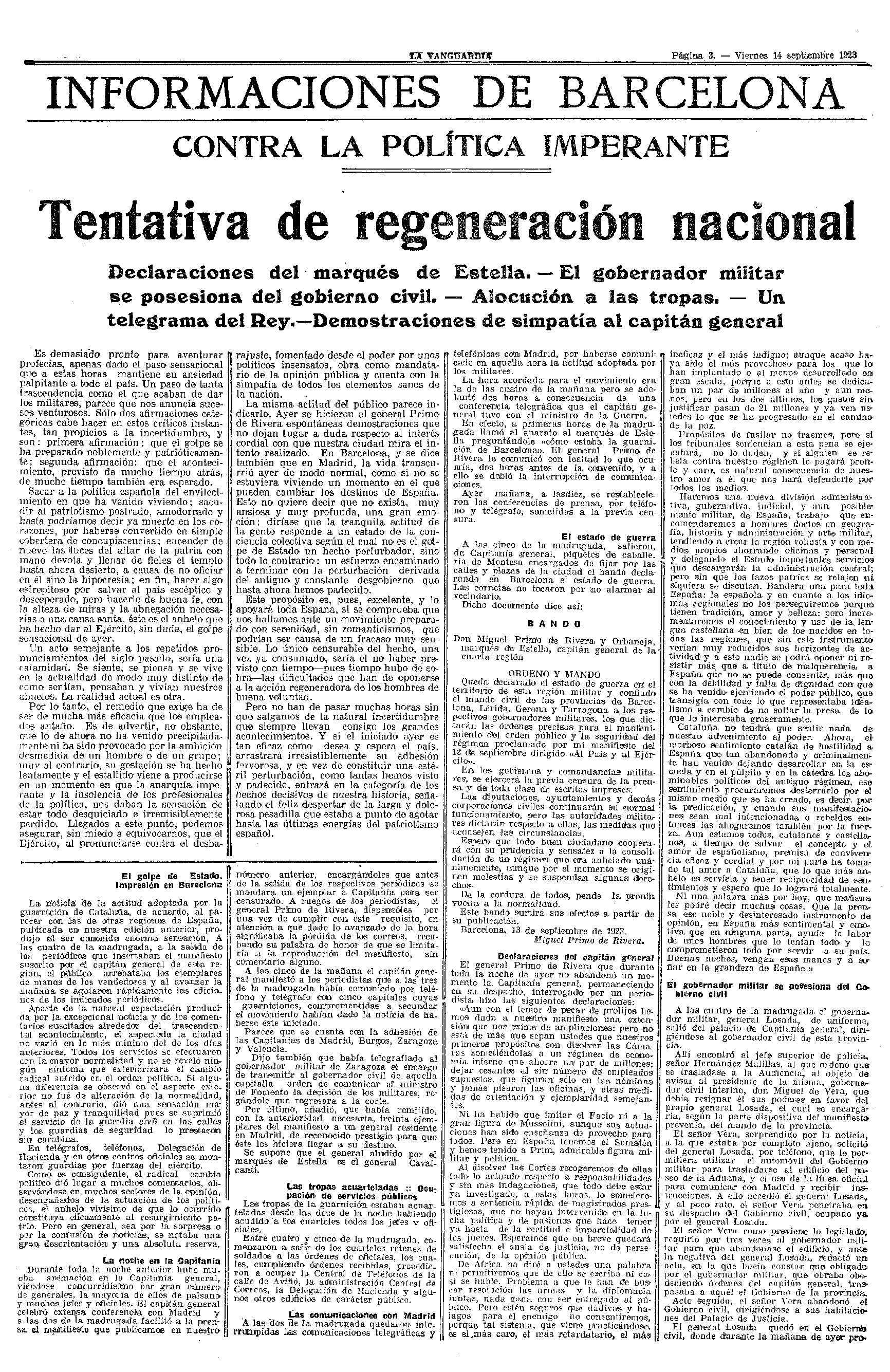 Editorial de La Vanguardia de suport al cop d'estat de Primo de Rivera.