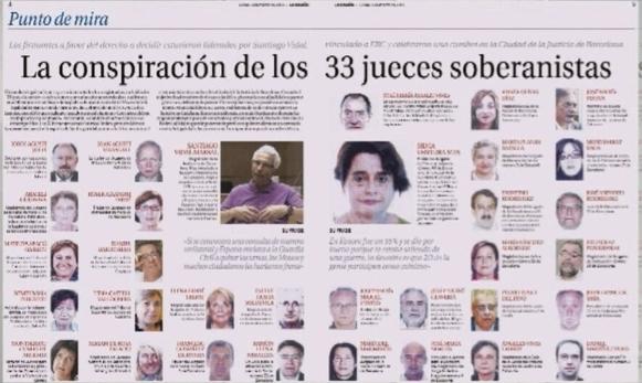 Un reportatge a doble pàgina de 'La Razón' sobre els suposats jutges sobiranistes / CCMA