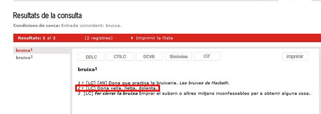 Les entrades que conté la paraula 'bruixa' al diccionari de l'Institut d'Estudis Catalans