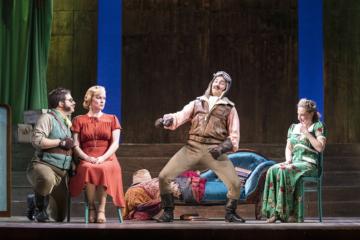 Guglielmo and Ferrando show off to Despina and Fiordiligi. Thomas Elwin, Joanna Skillett, Frederick Long, Martha Jones