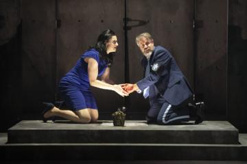 Lady Macbeth washing blood from Macbeth's hands