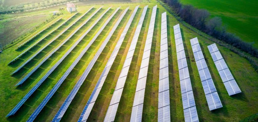 Case studies solar panel array in field 1064761928