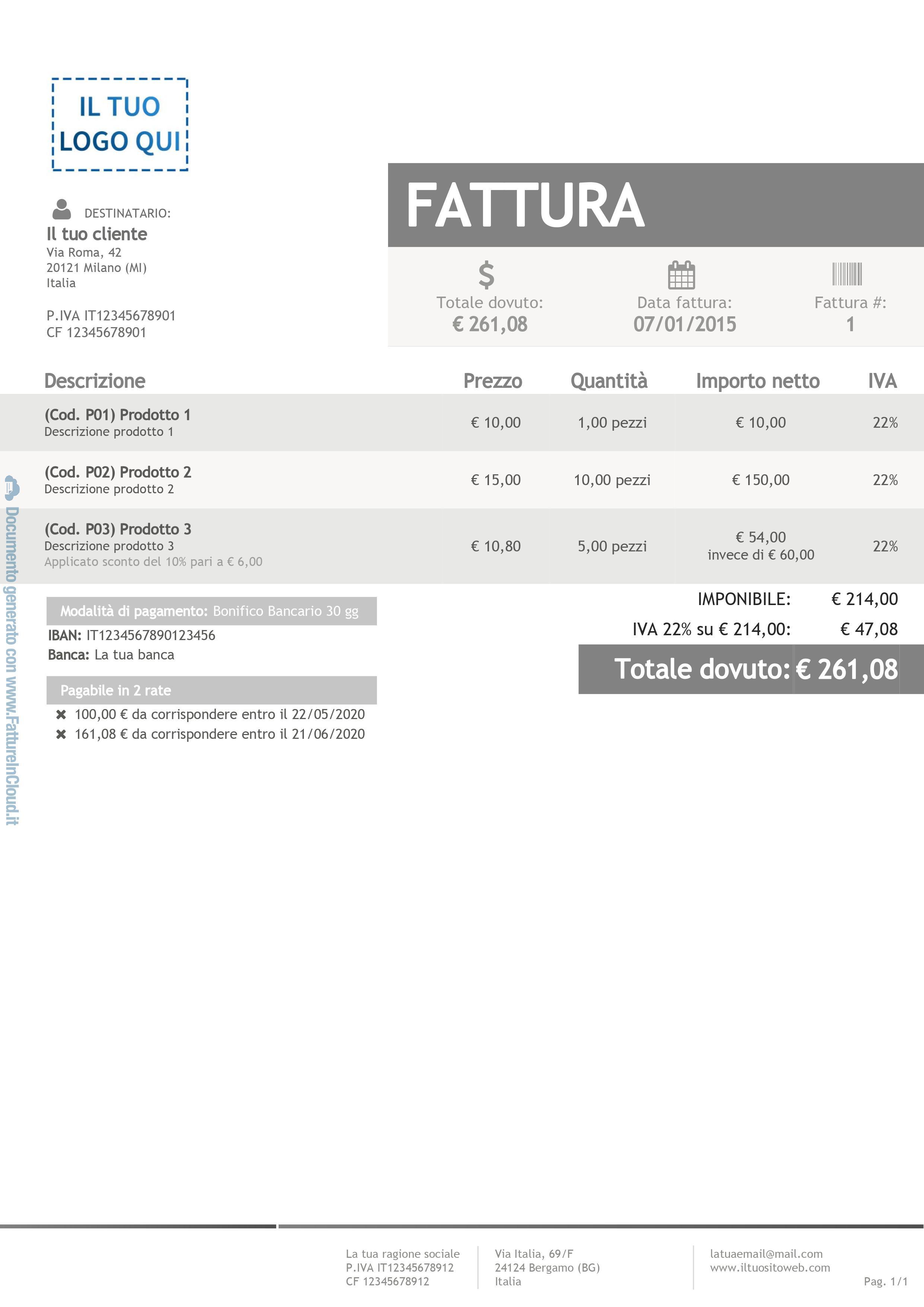 Modello Per Fattura E Template Per Documenti Fatture In Cloud