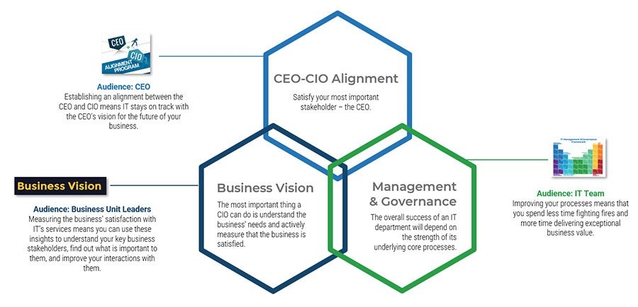 Image shows three intertwined hexagons. One is labelled CEO-CIO Alignment, another is labelled Management & Governance. The last is labelled Business Vision