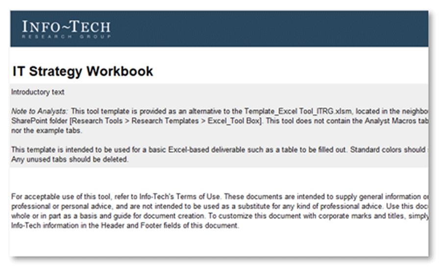 Screenshot of IT Strategy Workbook