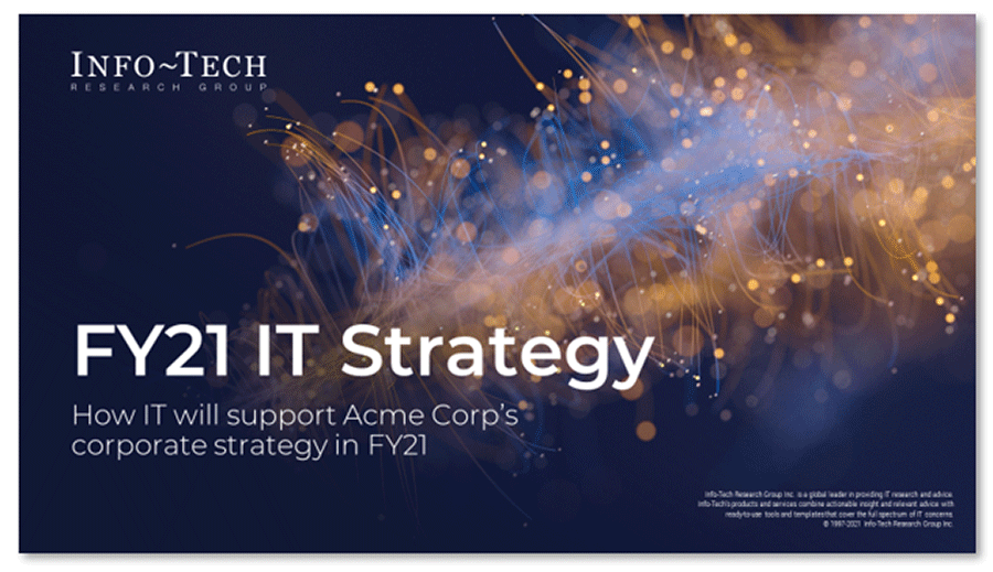 Screenshot of first slide of IT Strategy Presentation Template