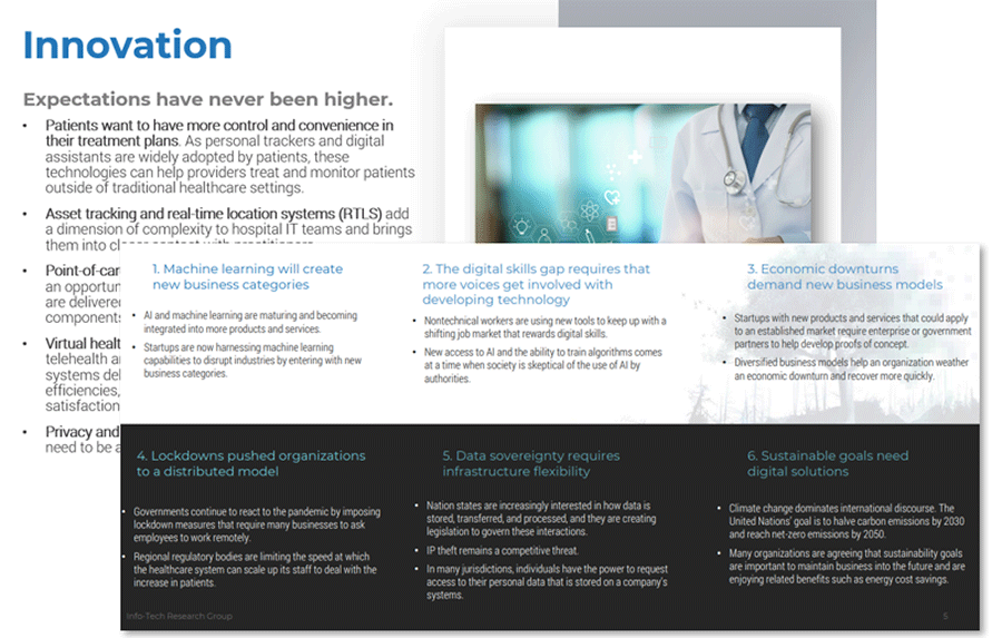 There are two screenshots, one is from Info-Tech's Hospital Innovation Report, the other from the 2021 Tech Trends Report