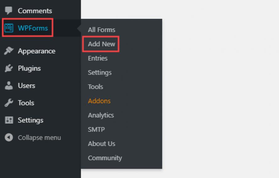 WPForms – Add New page