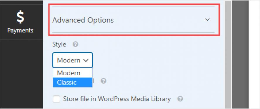 Advanced Options