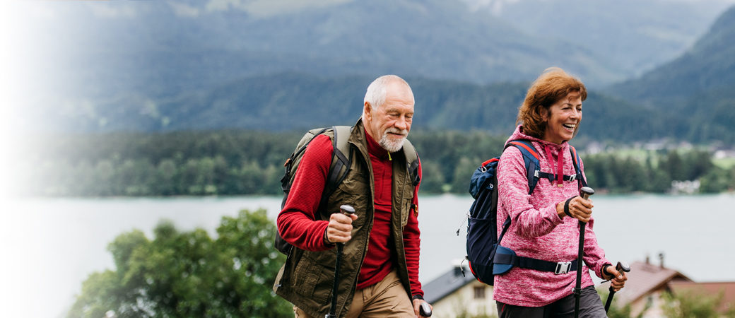Pensions retired couple walking
