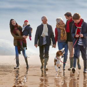 Families beach walk