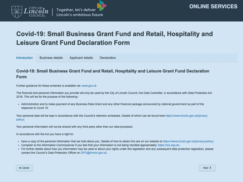 Small business grant