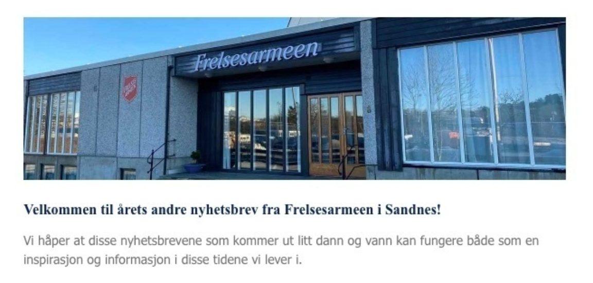 Nyhetsbrev Frelsesarmeen Sandnes korps 2 2021 januar