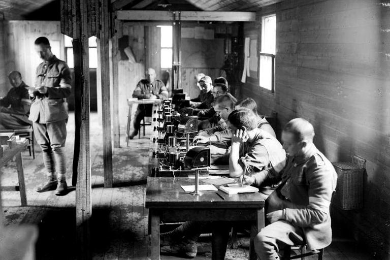 Signalmen using Morse code equipment in a Signal Exchange Station