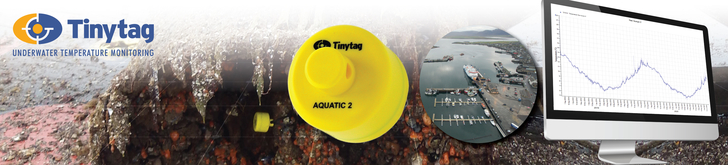 The Tinytag logo appears with the text 'underwater temperature monitoring'. A Tinytag Aquatic 2 data is shown attached to a seaweed-covered buoy. A large image of the data logger appears to the right, along with an aerial image of a marina.