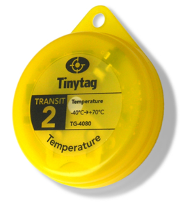 BS EN 12830 compliant Tinytag Transit 2 TG-4080 yellow temperature data logger for transportation