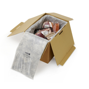 woolcool sustainable insulated packaging box containing meat
