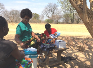 Vaccine being administered - immunisation pilot in Zambia