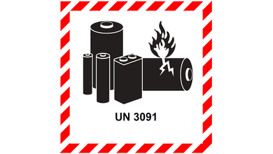 The UN 3091 lithium warning label. A red and white border encircles an image of different types of batteries, rendered in black.