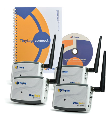 TR-3500-3SPK Tinytag Ultra Radio Bundle - 3 temperature and humidity data loggers, receiver, Connect software and cable.