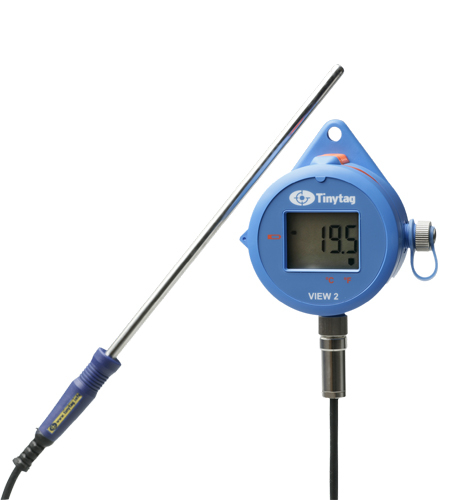 TV-4204 Tinytag View 2 low temperature data logger with digital display attached to a PT1000 probe