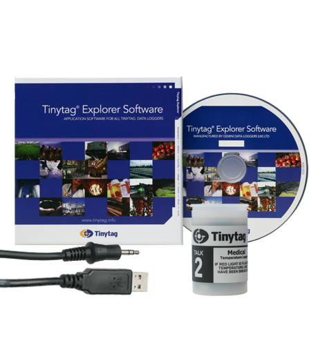 TK-4014-MED-SPK Tinytag Talk 2 Starter Pack containing medical temperature data logger, software and cable.
