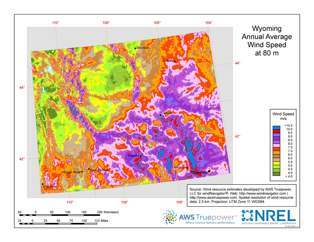 map of average wind speed in Wyoming