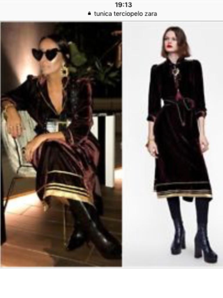 Vestido túnica terciopelo Zara studio    Detalle del