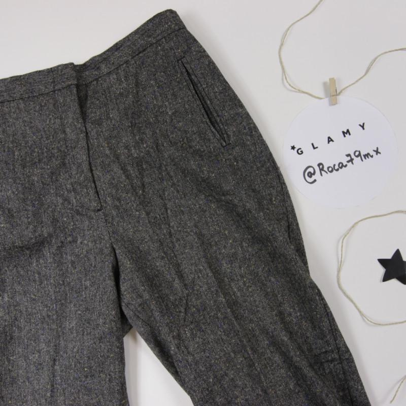 Pantalón gris claspeado lana 'Benetton'