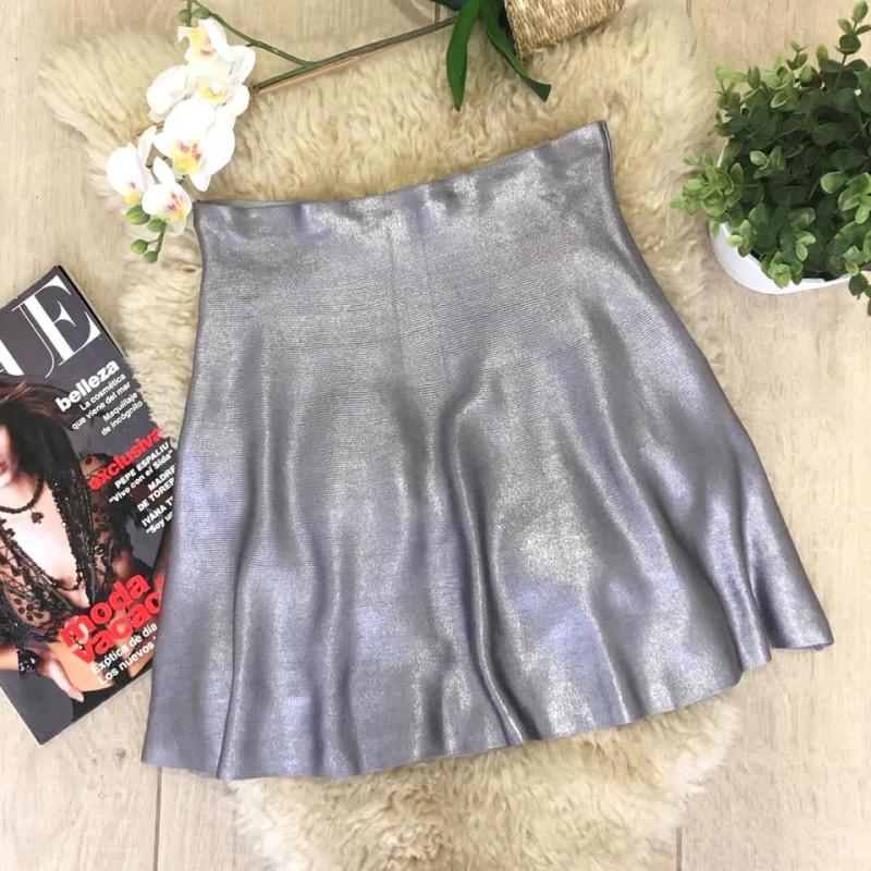 ZARA Minifalda metalizada plateada