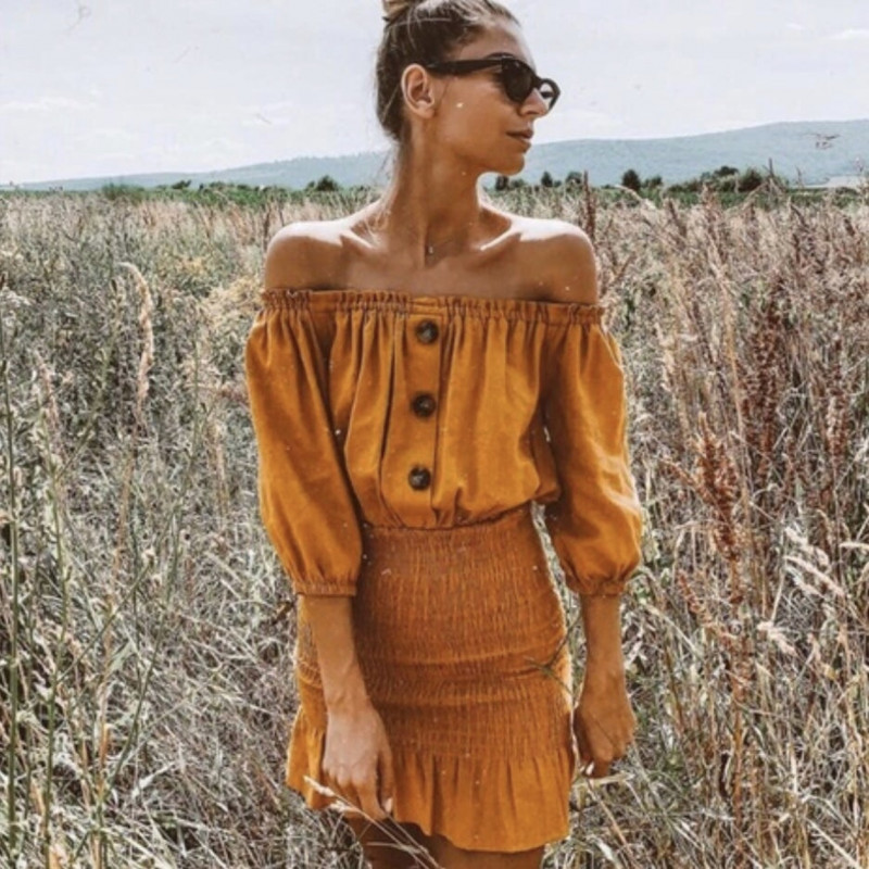 Vestido mostaza Zara