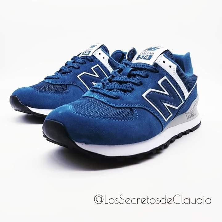 new balance 574 piel azul