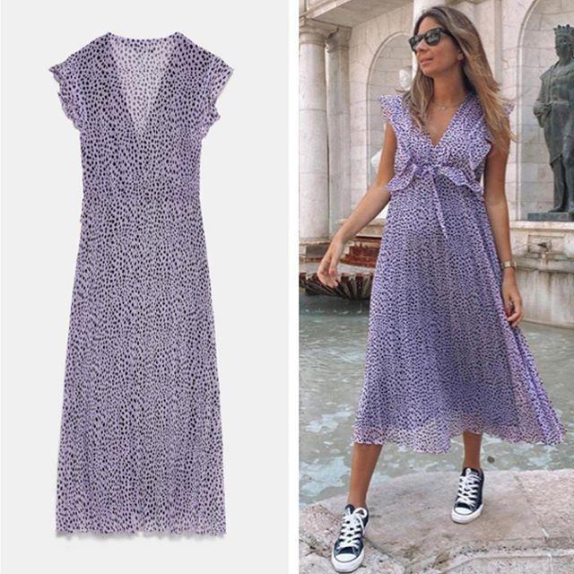 Vestido lila Zara talla M