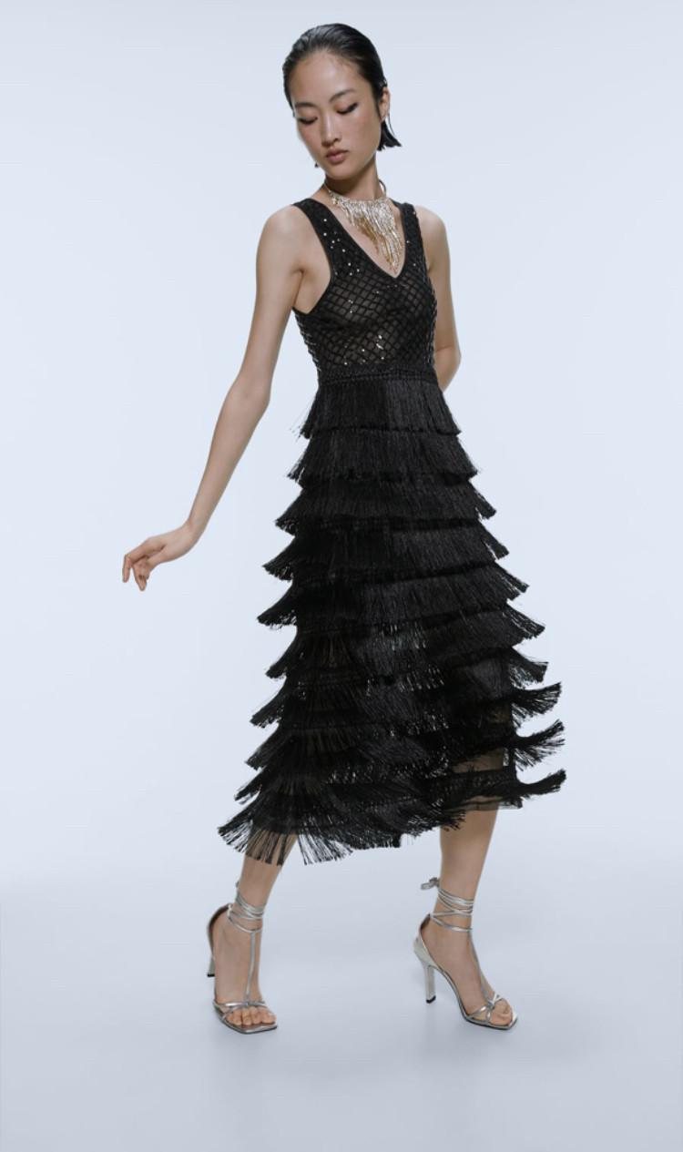Vestido flecos Zara Edición Limitada