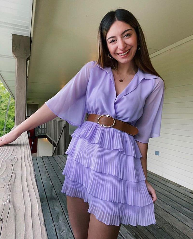 Vestido lila cinturon zara talla S