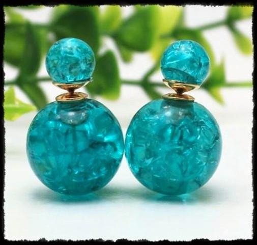 Pendientes azules de doble bola