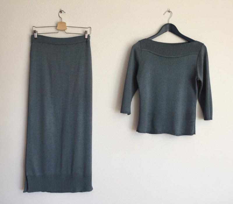 conjunto gris de falda y top