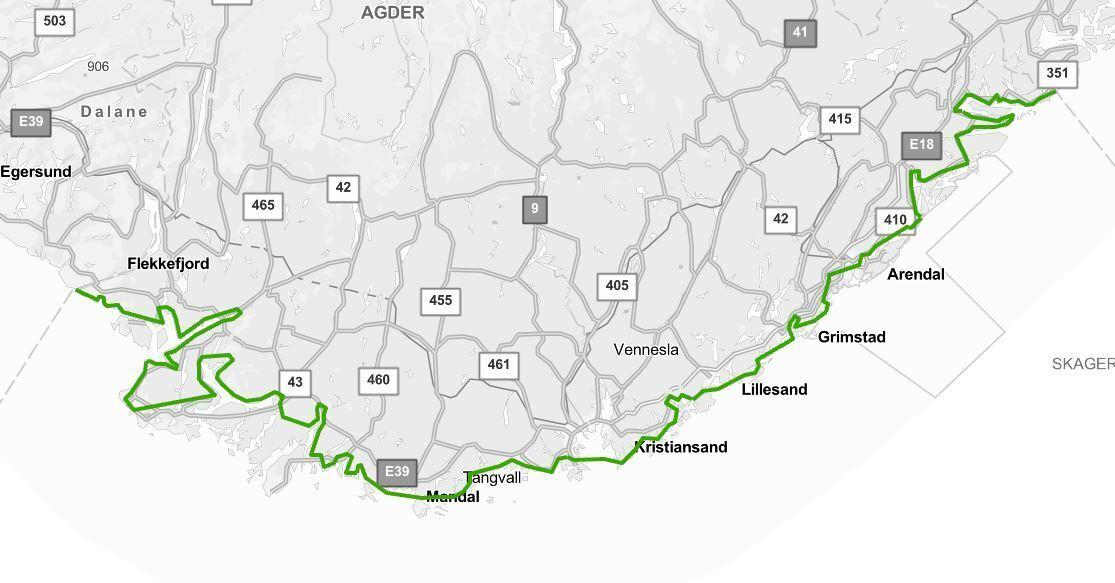 Kart over Agder