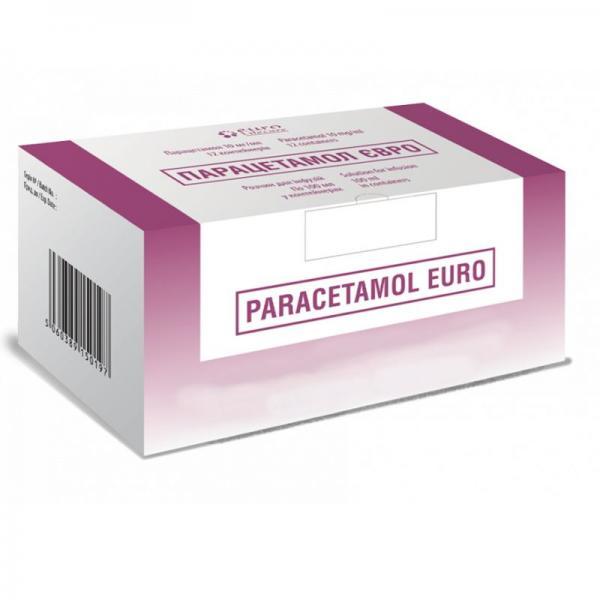 Парацетамол Евро 10мг/мл 100 мл №12 раствор для инфузий