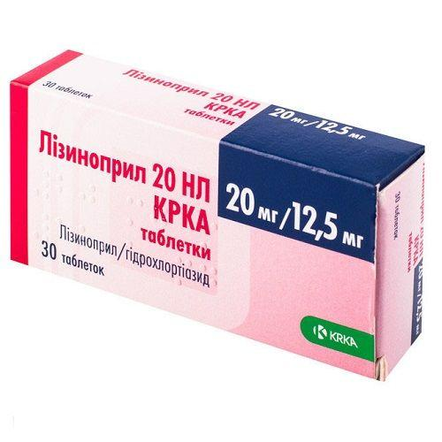Лизиноприл 20 НL KRKA 20 мг/12.5 мг №30 таблетки