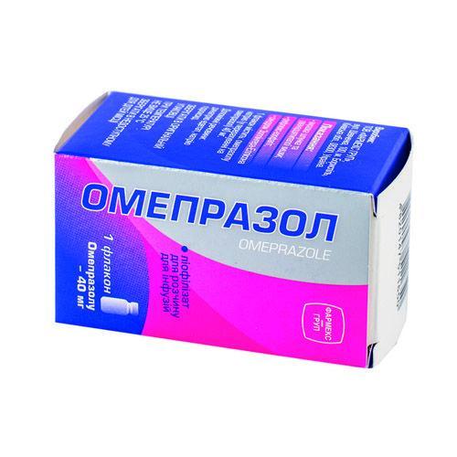 Омепразол  40 мг №1 лиофилизат для приготовления раствора для инъекций