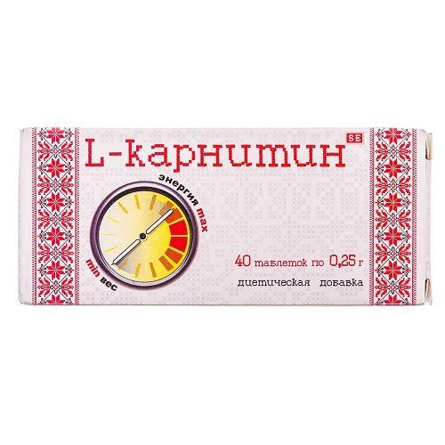 "L-карнитин 0.25 г №40 таблетки - ТОВ ВТФ""Фармаком"", Україна"