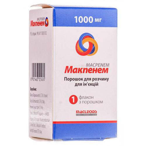 Макпенем 1000 мг №1 картонная упаковка порошок для раствора для инъекций