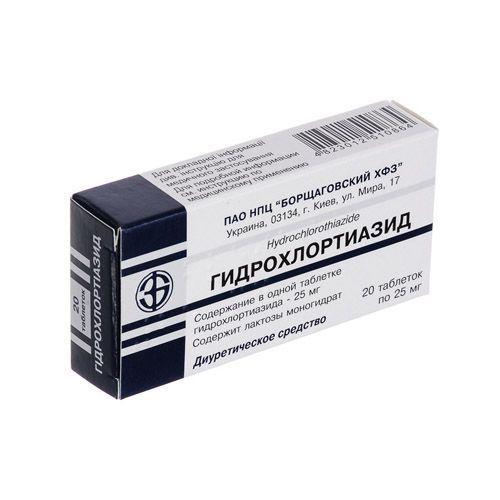 Гидрохлортиазид 0.025 г №20 таблетки