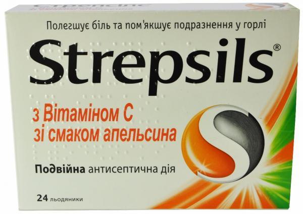 Стрепсилс с витамином C №24 леденцы апельсин